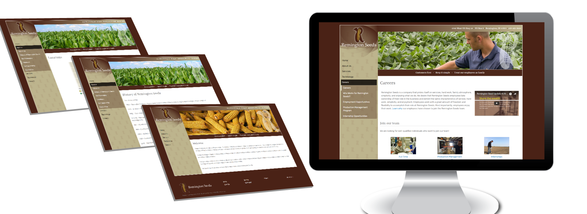 Screen Captures of example project: Branding and Web Design - Remington Seeds